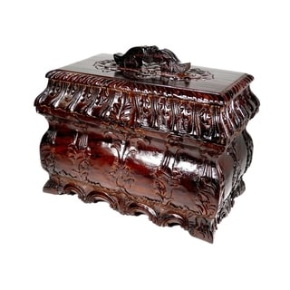 Offex Handcarved Solid Mahogany Wood Jewelry and Tea Box