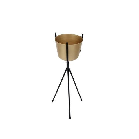 Metal Planter On Stand, Gold and Black