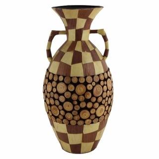 Ceramic/Wood Encrusted Vase, Multicolor