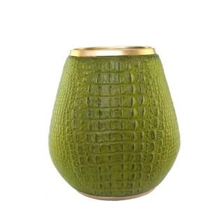 Polyresin Accent Alligator Skin Vase, Light Green