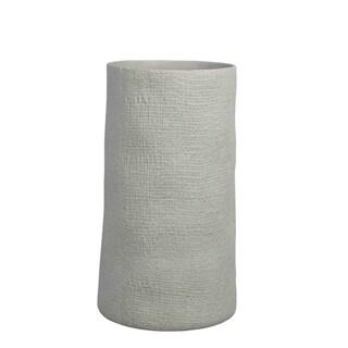 Roughly Textured Ceramic Column Vase, Ivory