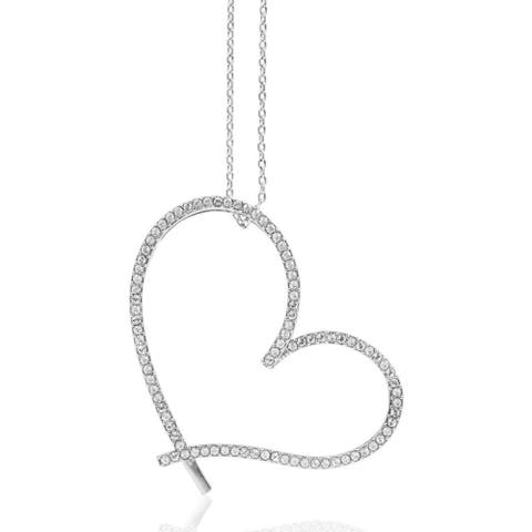 Matashi White Gold Plated Heart Shaped Pendant Necklace with Clear Crystals