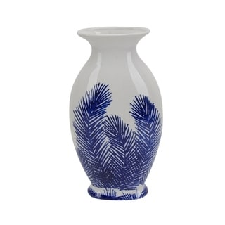 Glistening Decorative Ceramic Fern Vase, Blue And White