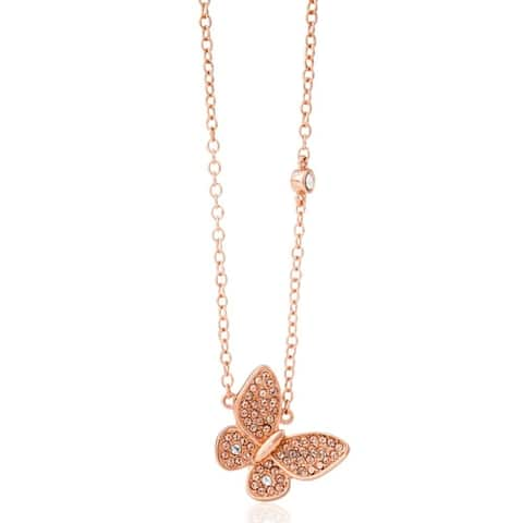 Rose Gold Plated Butterfly Pendant Necklace with Sparkling Rose Gold Crystals by Matashi