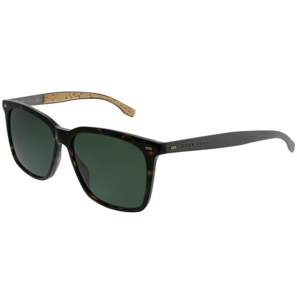 dce21828fd1b Hugo Boss Rectangle BOSS 0883/S 0R6 85 Unisex Dark Havana Frame Green Lens  Sunglasses