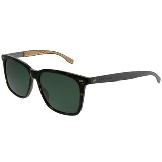 Hugo Boss Rectangle BOSS 0883/S 0R6 85 Unisex Dark Havana Frame Green Lens Sunglasses