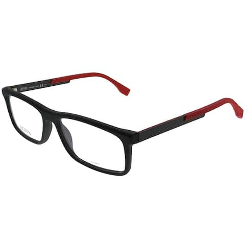 Hugo Boss Rectangle BOSS 0774 QMI Unisex Black Carbon Red Frame Eyeglasses
