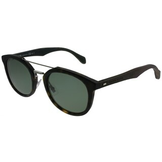 Hugo Boss Aviator BOSS 0777/S RBH Unisex Black Dark Brown Frame Green Polarized Lens Sunglasses