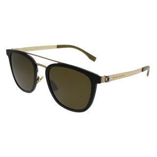 Hugo Boss Square BOSS 0838/S 72Y Unisex Black Gold Frame Brown Lens Sunglasses