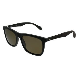 Hugo Boss Rectangle BOSS 0776/S RAJ Unisex Black Dark Brown Frame Brown Polarized Lens Sunglasses
