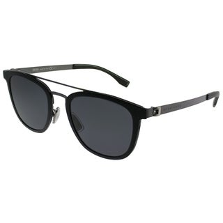 Hugo Boss Square BOSS 0838/S 793 Unisex Black Matte Ruthenium Frame Grey Lens Sunglasses