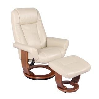 New Ridge Home Havana Stucco Top-grain Leather/Vinyl-match Swivel Recliner Chair and Ottoman