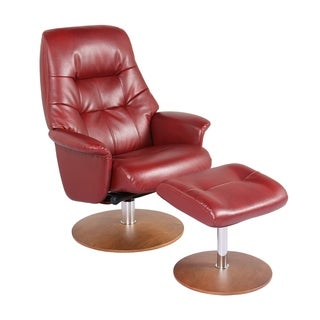 New Ridge Home Red Faux Leather Swivel Recliner Chair and Ottoman