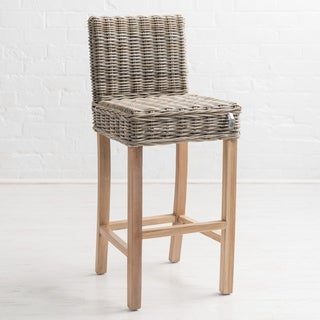 Kubu Grey Mahogany Rattan Bar Stool