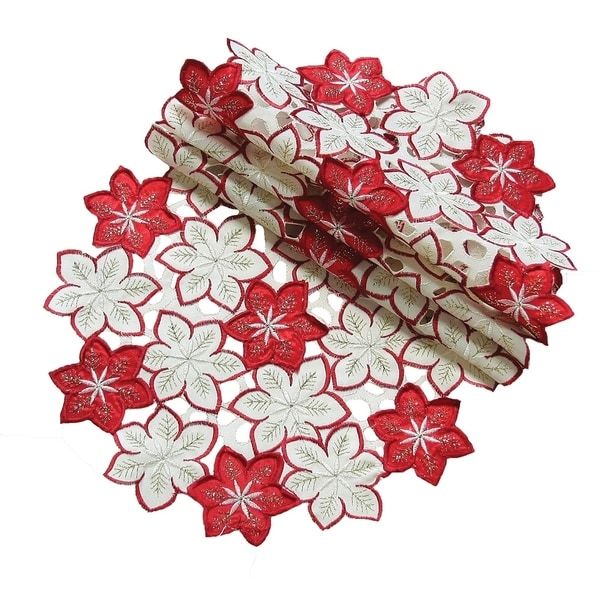 4add0e27 Shop Candy Cane Poinsettia Embroidered Cutwork Holiday Doily,12-Inch ..