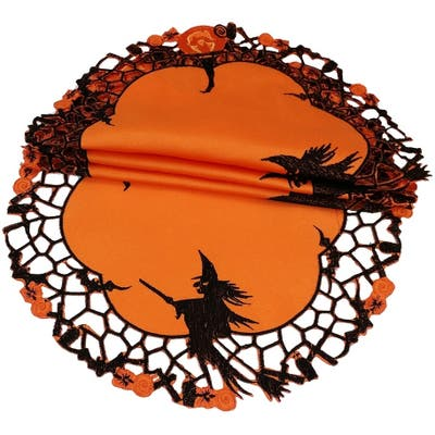 Witch Embroidered Cutwork Halloween Doilies,8-Inch Round , Set of 4