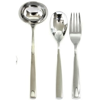 3-piece Stainless Steel Arte Serving Set (Fork, Spoon, and Ladle)