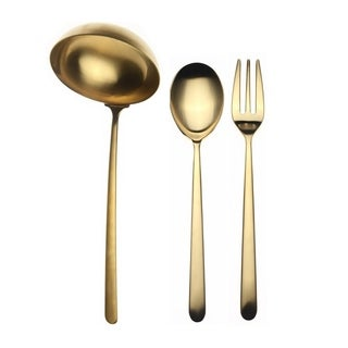 Mepra 3-piece Stainless Steel w/PVD Titanium Coating Linea Ice Oro Serving Set (Fork, Spoon, and Ladle)