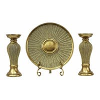 D'Lusso Designs Arlisa Collection Four Piece Charger, Stand And Two Candlestick Set