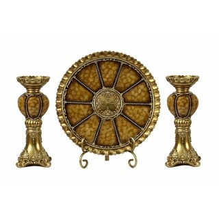 D'Lusso Designs Shanta Collection Four Piece Charger, Stand And Two Candlestick Set
