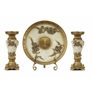 D'Lusso Designs Andreas Collection Four Piece Charger, Stand And Two Candlestick Set