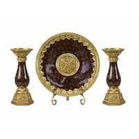 D'Lusso Designs Paoletta Collection Four Piece Charger, Stand And Two Candlestick Set