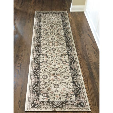 """Gallina Panel Brown Area Rug By Admire Home Living - 2'2"""" x 7'7""""/Surplus"""