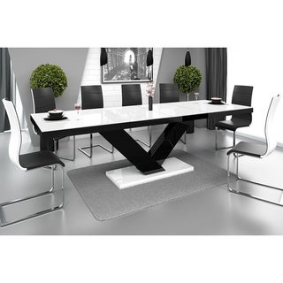 VICTORIA Dining Table with Extension - White/Black