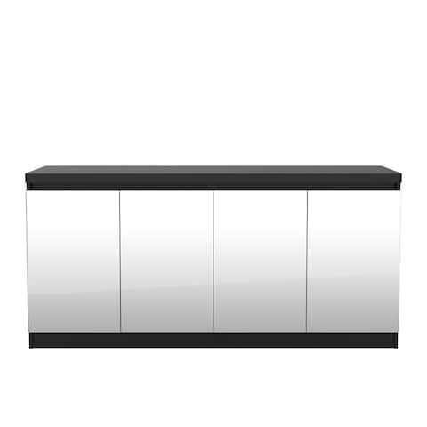 Viennese 62.99 in. 6- Shelf Buffet Cabinet with Mirrors in Black Matte