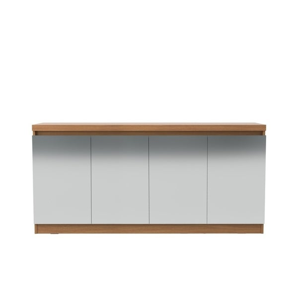 Viennese 62.99 in. 6- Shelf Buffet Cabinet with Mirrors in Maple Cream