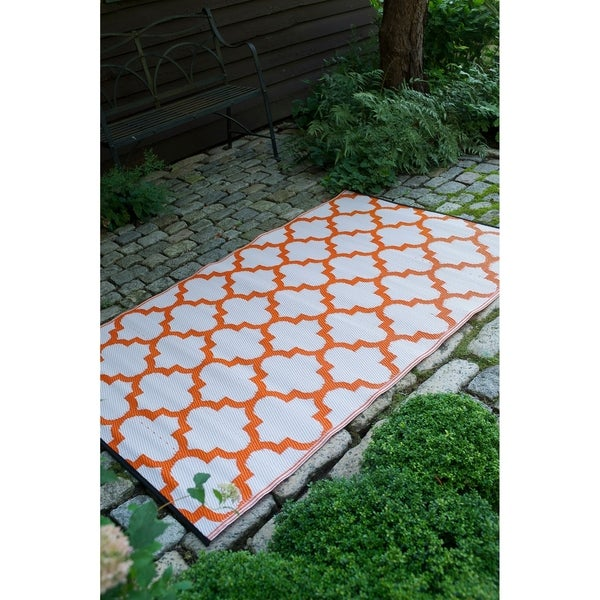 Fab Habitat Carrot /& White Indoor//Outdoor Recycled Plastic Rug Tangier