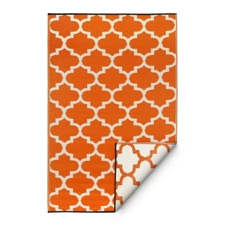 Fab Habitat Indoor/Outdoor Rug Tangier - Carrot & White (6' x 9')