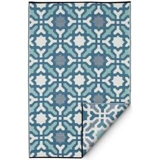 Fab Habitat Indoor/Outdoor Rug Seville - Multicolor Blue (3' x 5') - 3' x 5'