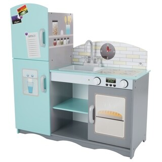 Kids Toy Kitchen Set- Fun Pretend Play Home Kitchen Playset with Oven, Sink, Stove, Refrigerator Freezer By Hey! Play!