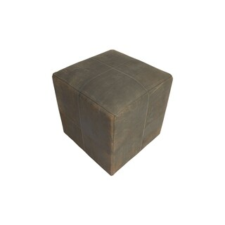 "Decor Maisonette Distressed Leather Pouf Lincoln Grey, (18""x18""x18"")"