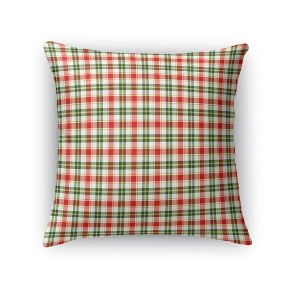 FLORAL PLAID GREEN, RED Accent Pillow By Kavka Designs