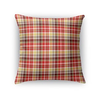 FLORAL PLAID RED, YELLOW, BROWN Accent Pillow By Kavka Designs