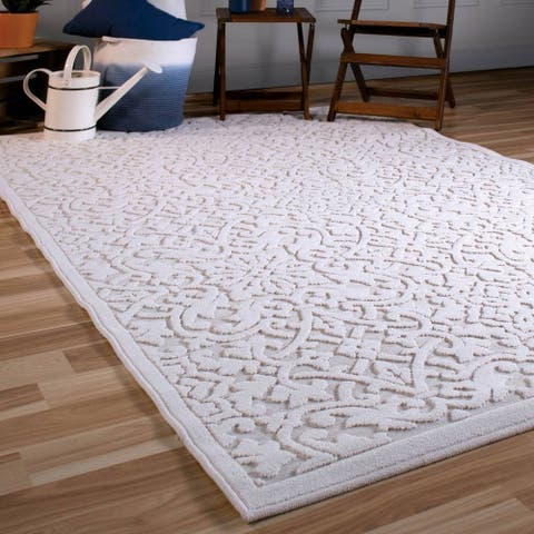 """Orian Rugs Boucle Indoor/Outdoor Biscay Natural Area Rug - 5'2"""" x 7'6"""""""