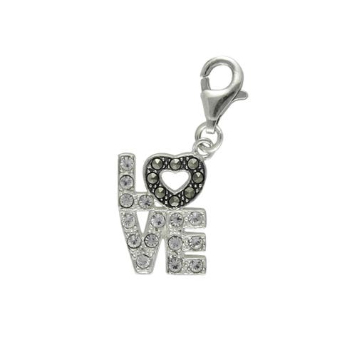 MARC Sterling Silver 'LOVE' Charm Set With White Crystal & Marcasite