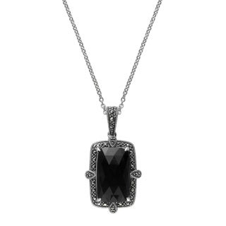 MARC Sterling Silver Rectangular Back Onyx & Marcasite Pendant 16""
