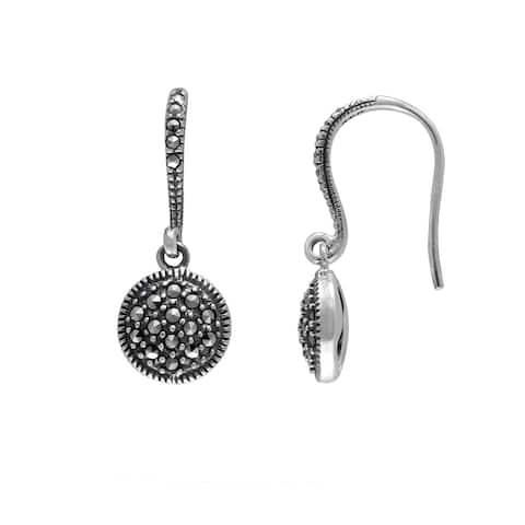 MARC Sterling Silver Marcasite in French Wire Backing Earrings