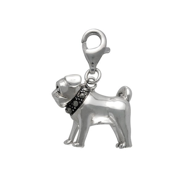 MARC Sterling Silver Marcasite Bull Dog Charm. Opens flyout.