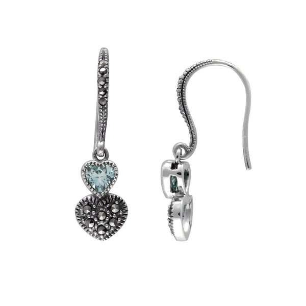 c1a8c3aa5 Shop MARC Sterling Silver Top Sky Blue Topaz & Marcasite Duo Heart Earrings  - On Sale - Free Shipping On Orders Over $45 - Overstock - 21612081