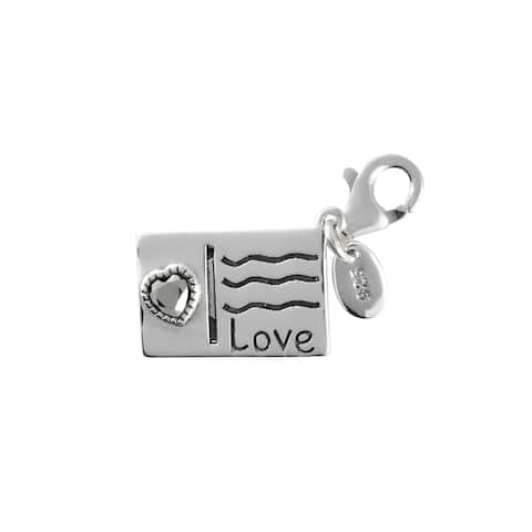 MARC Sterling Silver Marcasite Post Card with Heart Charm