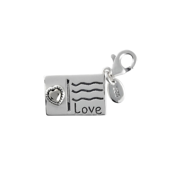 MARC Sterling Silver Marcasite Post Card with Heart Charm. Opens flyout.