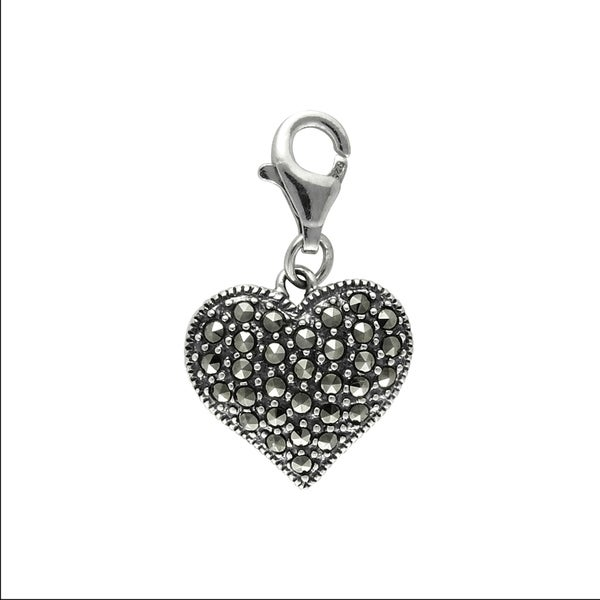 MARC Sterling Silver Marcasite Bold Heart Charm. Opens flyout.