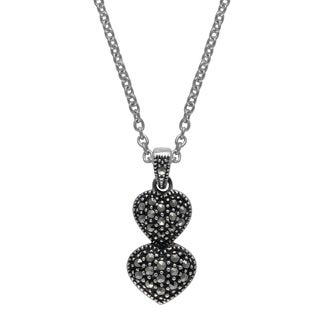 "MARC Sterling Silver Marcasite Double Heart Pendant in 18"" chain"