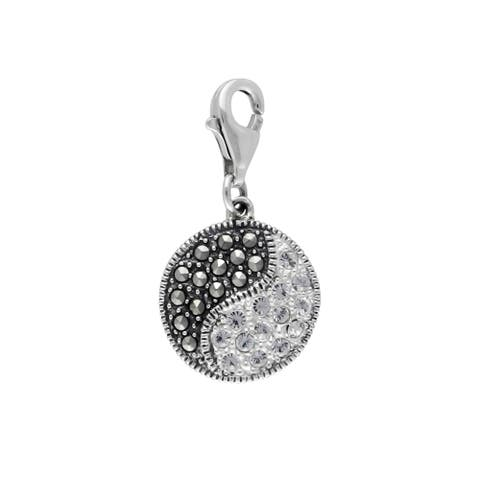 MARC Sterling Silver Yin-Yang Charm Set With White Crystal & Marcasite