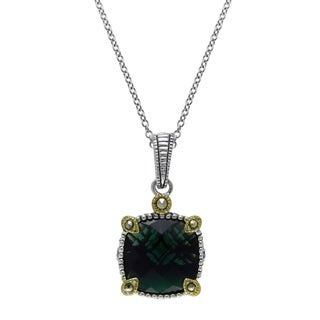 """MARC Silver Green Synthetic Qtz & Marcasite Pendant 16"""" (Gold Overlay)"""
