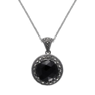 "MARC Sterling Silver Black Onyx & Marcasite Round Pendant in 16"" chain"